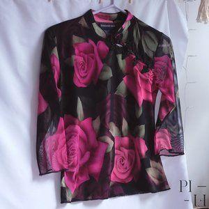Beautiful oriental collar sheer sleeves blouse